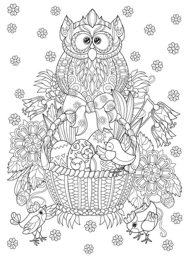 Huevos de Pascua dibujados mano del esquema del garabato en cesta ilustración del vector