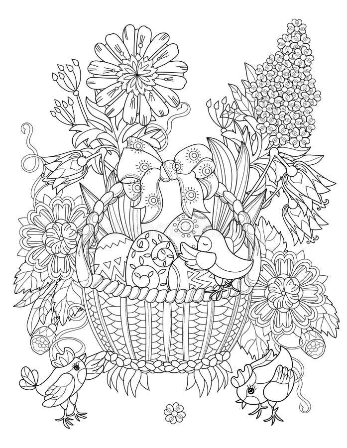 Huevos de Pascua dibujados mano del esquema del garabato en cesta libre illustration