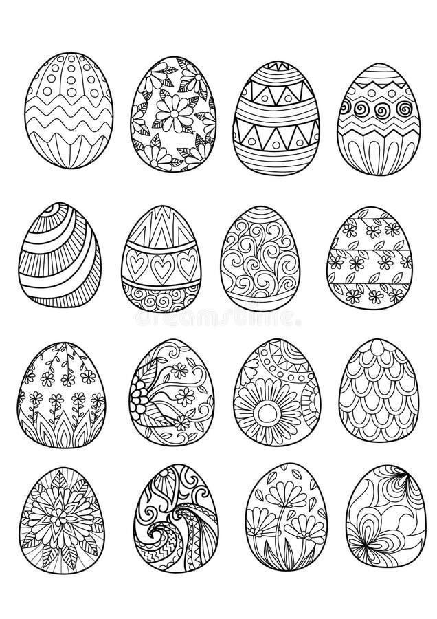 Huevos De Pascua Dibujados Mano Para El Libro De Colorear ...