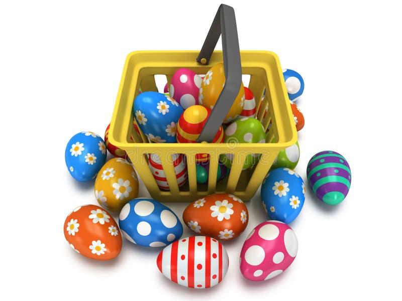 Huevos de Pascua en cesta de compras stock de ilustración