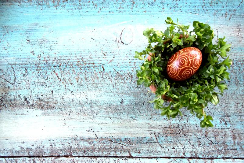 Huevos de Pascua en cuenco con la hierba en el escritorio azul fotos de archivo