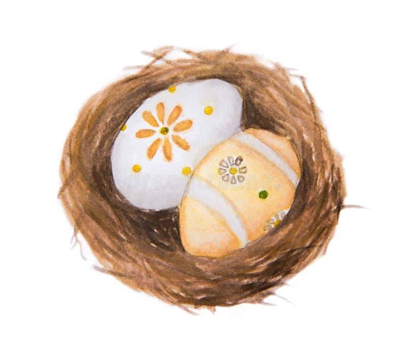 Huevos de Pascua en el ejemplo de la pintura de la acuarela de la jerarquía aislado en el fondo blanco ilustración del vector