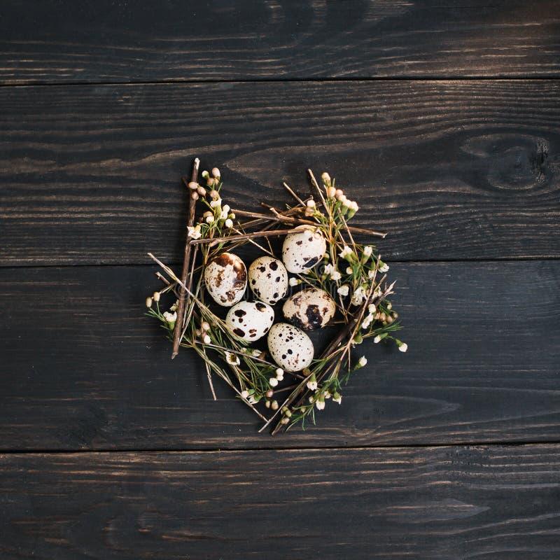 Huevos de Pascua en fondo de madera Vida inm?vil r?stica de pascua con los huevos de codornices, ramas secas del sauce en fondo o fotos de archivo
