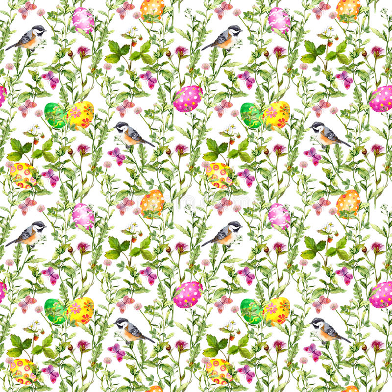 Huevos de Pascua en hierba Modelo inconsútil - pájaro lindo, flores, mariposas watercolor imagen de archivo
