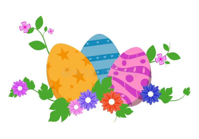 Huevos de Pascua en hierba verde con las flores, aisladas en el fondo blanco Ilustración del vector ilustración del vector