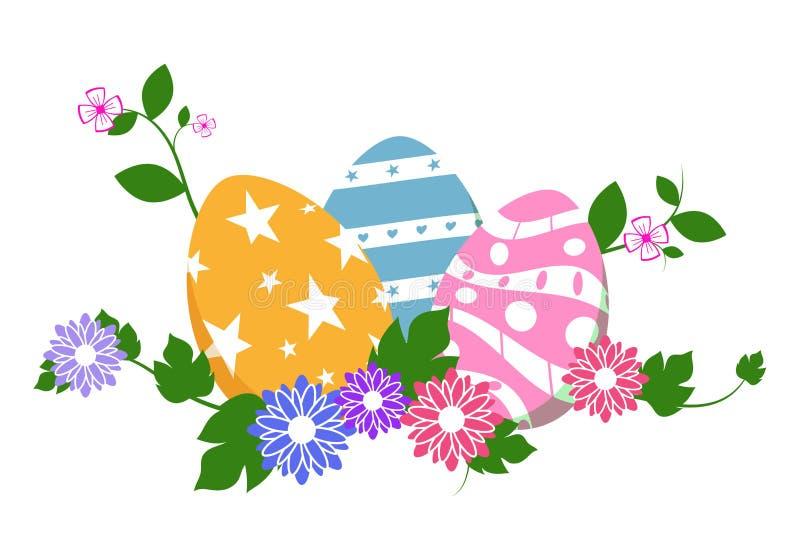 Huevos de Pascua en hierba verde con las flores, aisladas en el fondo blanco Ilustración del vector stock de ilustración