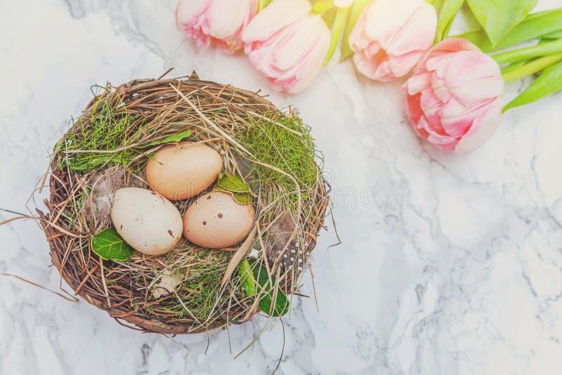 Huevos de Pascua en jerarquía con el musgo y ramo fresco rosado del tulipán en el fondo de mármol imagen de archivo libre de regalías