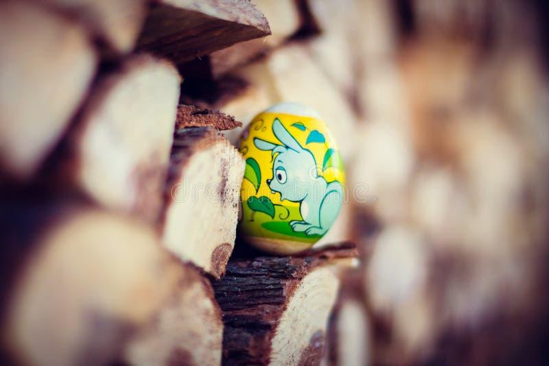 Huevos de Pascua en la cesta imágenes de archivo libres de regalías