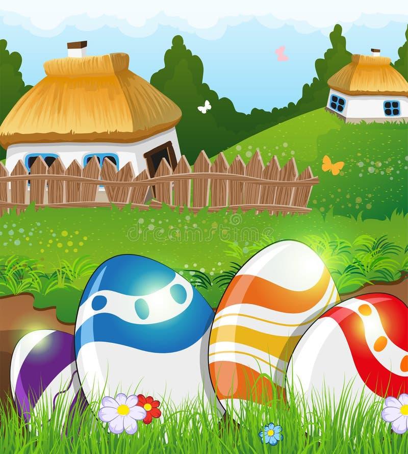 Huevos de Pascua en la hierba y las casas rurales ilustración del vector