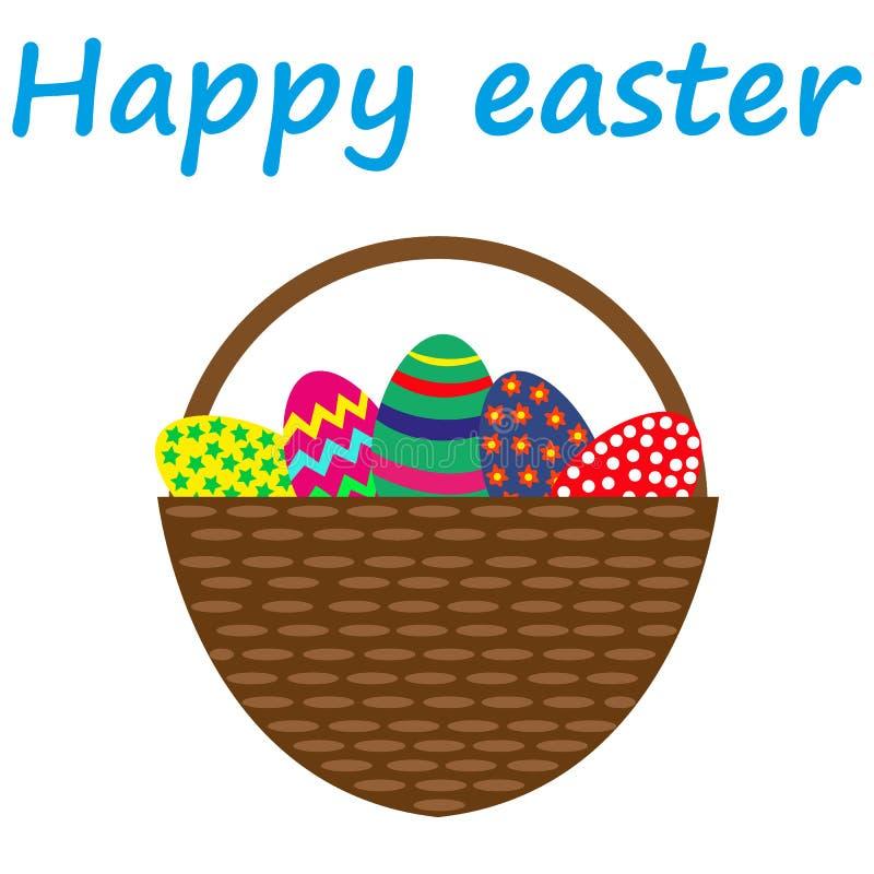 Huevos de Pascua en una cesta ilustración del vector