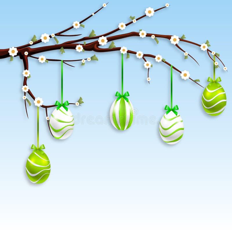 Huevos de Pascua en una rama floreciente ilustración del vector