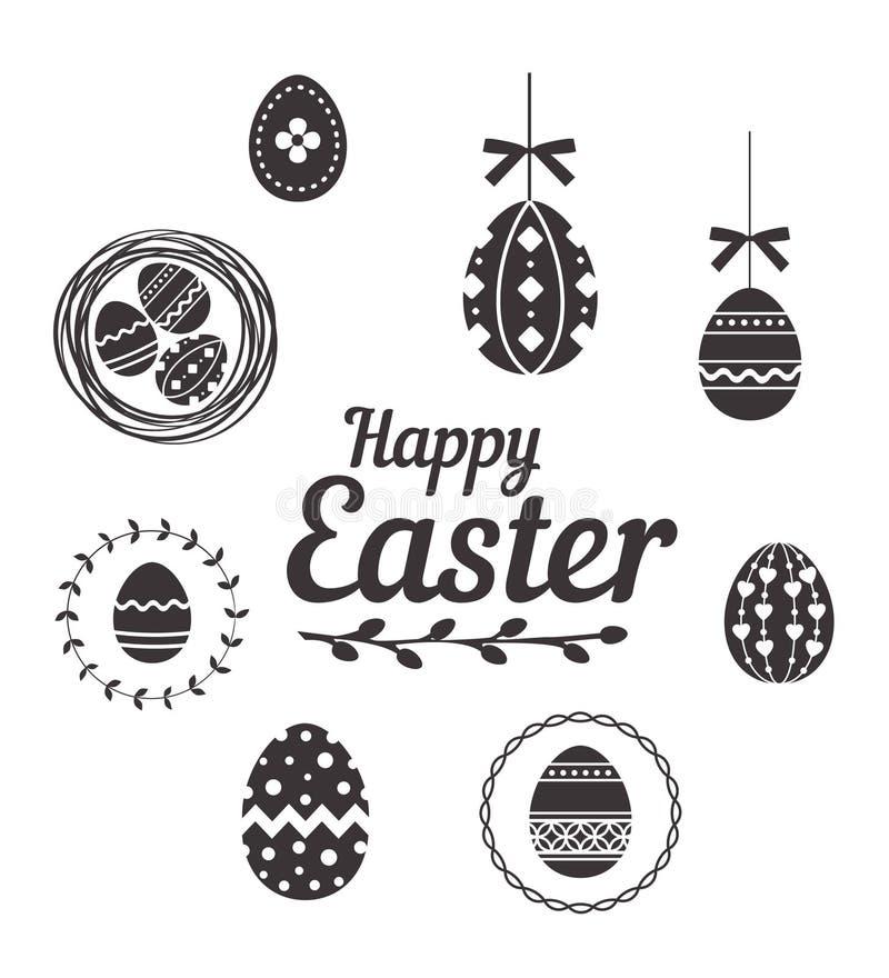 Huevos de Pascua felices fijados en el fondo blanco ilustración del vector