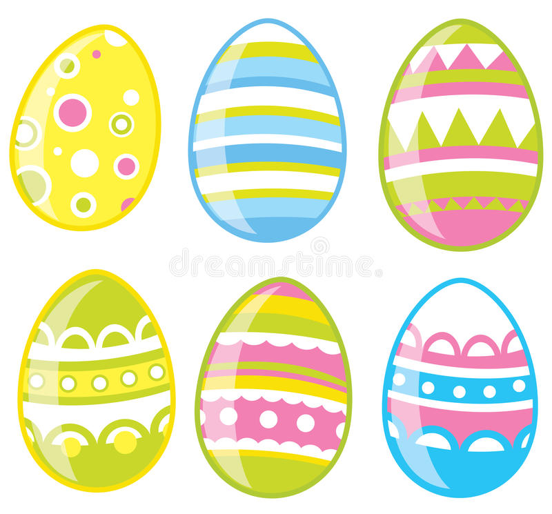 Huevos de Pascua fijados stock de ilustración