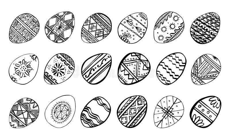 Huevos de Pascua fijados Ejemplo exhausto del bosquejo del vector de la tinta del esquema de la mano Huevos pintados con los orna libre illustration