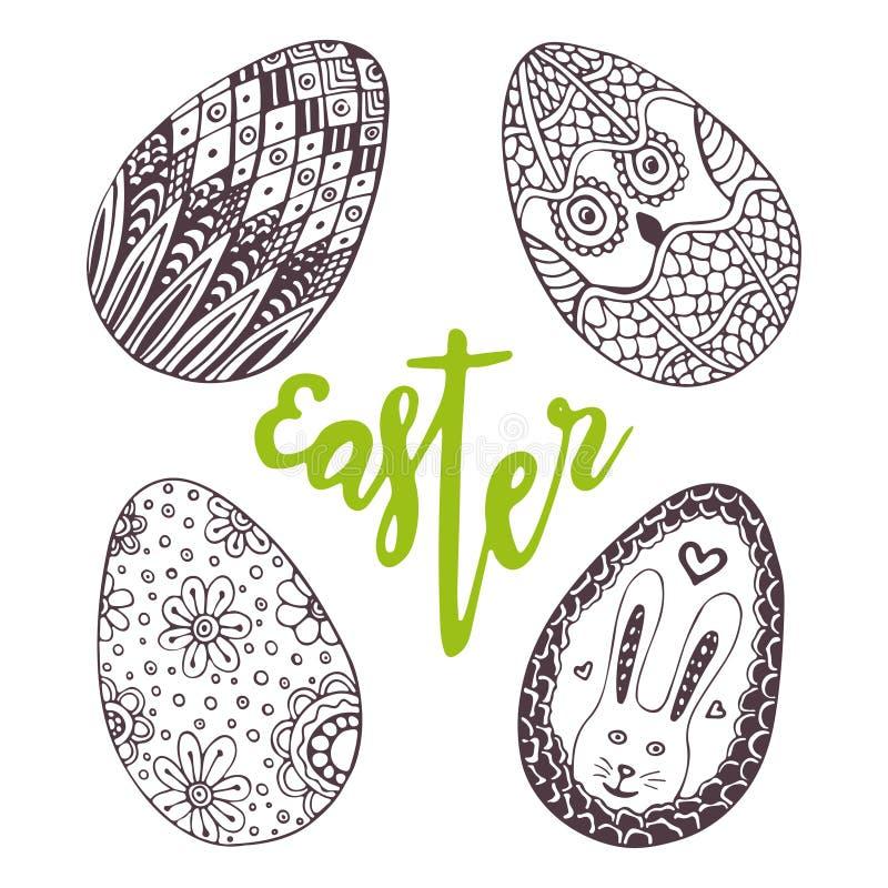 Huevos de Pascua Garabato único fijado con poner letras a Pascua Decoración del día de fiesta para la tarjeta de felicitación Hue ilustración del vector