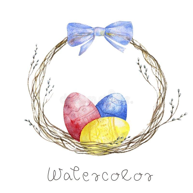 Huevos de Pascua de la acuarela en jerarquía en una tabla de madera azul en el fondo blanco libre illustration