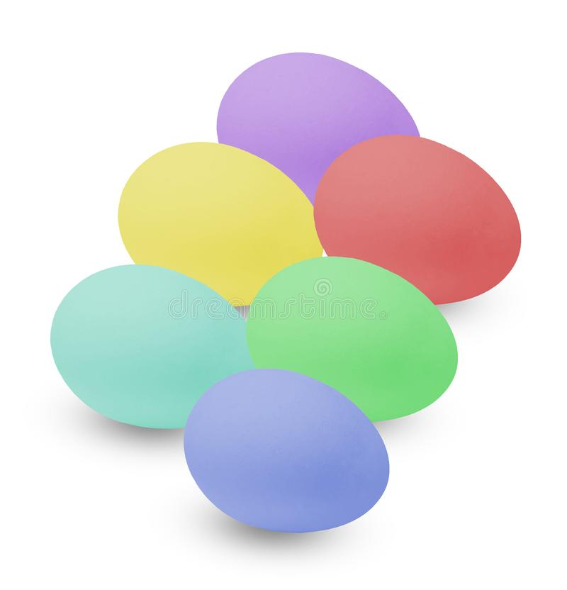 Huevos de Pascua multicolores Colores brillantes Fondo aislado blanco fotos de archivo libres de regalías