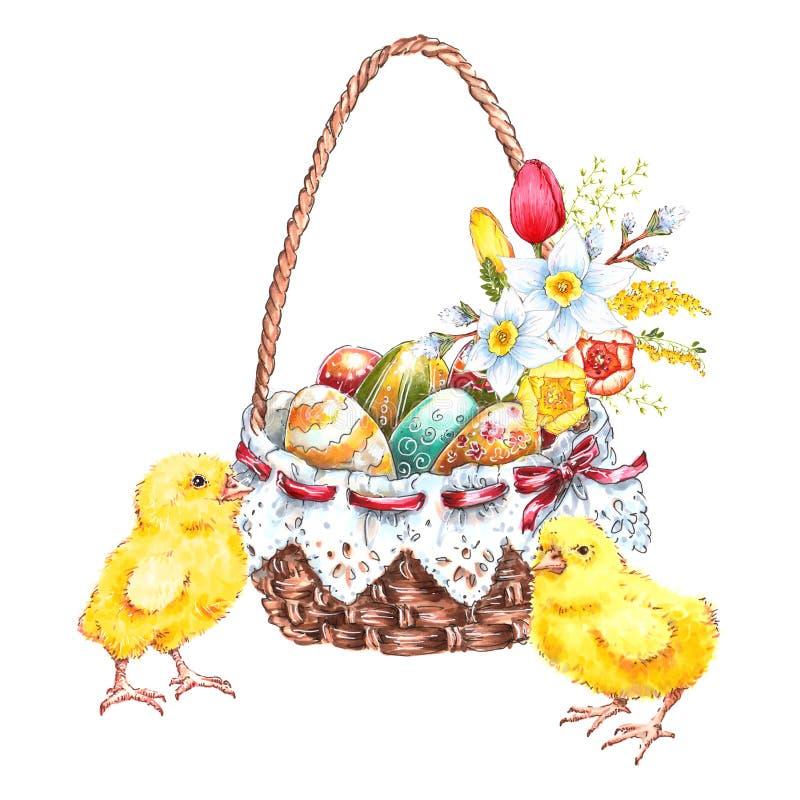 Huevos de Pascua multicolores en una cesta con las flores y los polluelos lindos, dibujo de la mano libre illustration