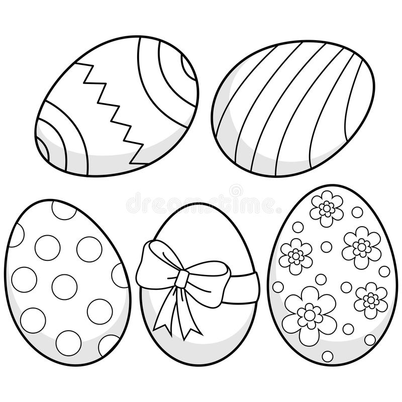 Huevos De Pascua Página Blanco Y Negro Del Libro De Colorear ...