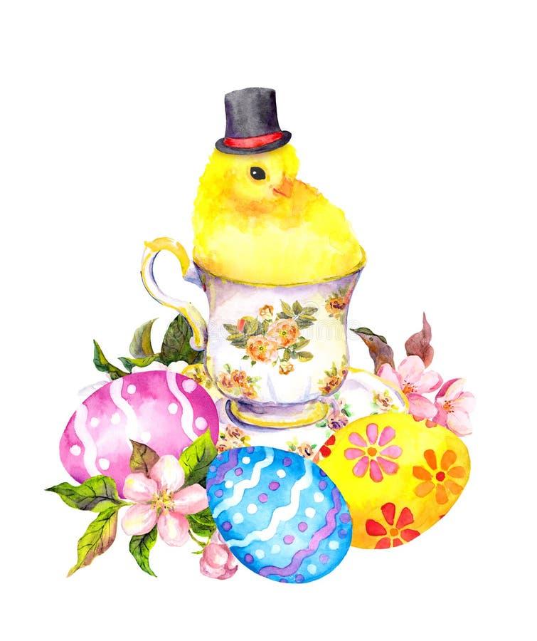 Huevos de Pascua, pequeño animal lindo del pollo con el sombrero alto en taza de té Acuarela del teatime del vintage stock de ilustración