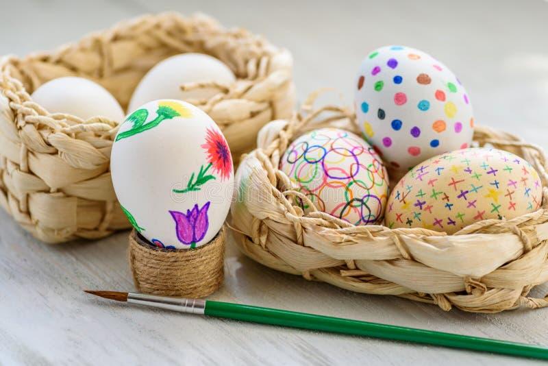 Huevos de Pascua pintados a mano fotografía de archivo libre de regalías