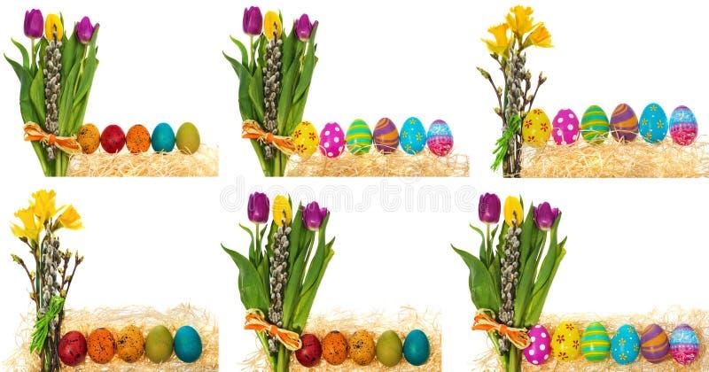 Huevos de Pascua pintados a mano con un ramo de tulipanes de las flores, catki foto de archivo libre de regalías