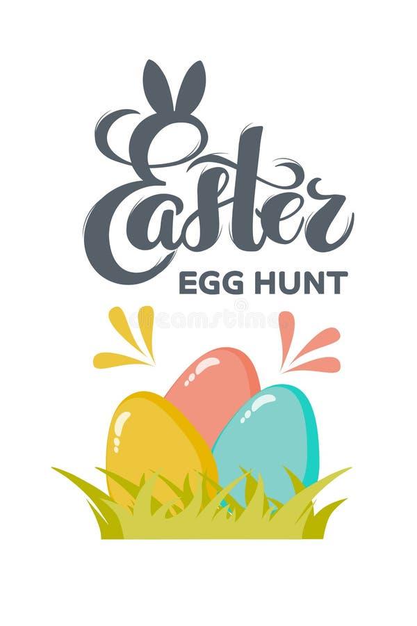 Huevos de Pascua planos del vector con la caza exhausta del huevo de Pascua del texto de la mano para la tarjeta de felicitación, stock de ilustración