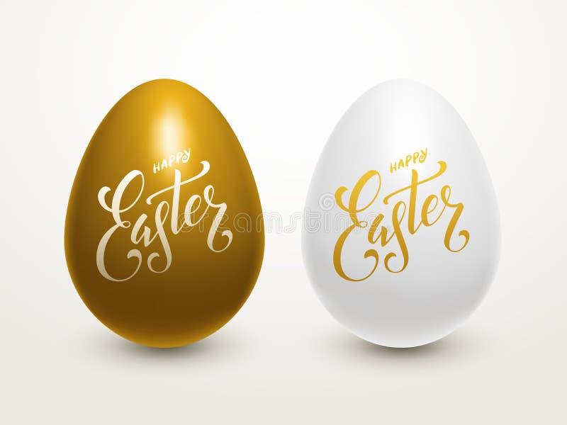 Huevos de Pascua que ponen letras al cartel imagen de archivo