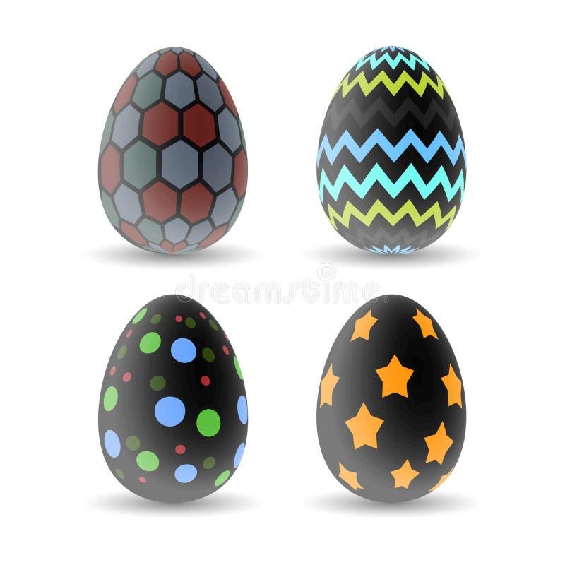 Huevos de Pascua realistas fijados imagen de archivo