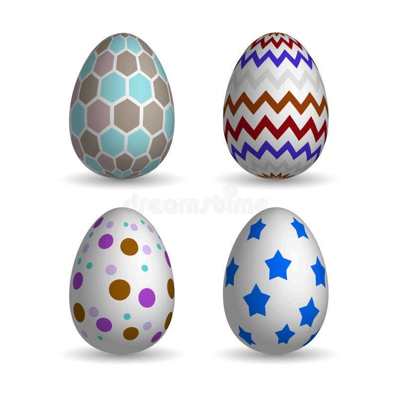 Huevos de Pascua realistas fijados fotografía de archivo