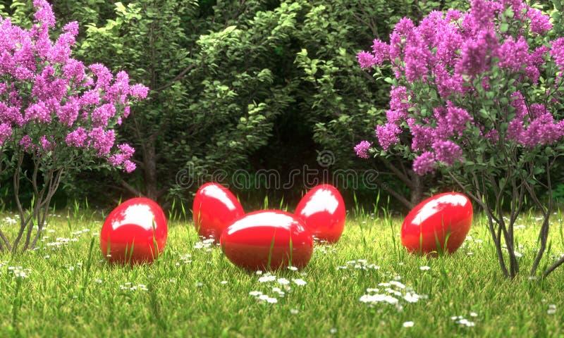 Huevos de Pascua rojos delante de un ejemplo del bosque 3D stock de ilustración