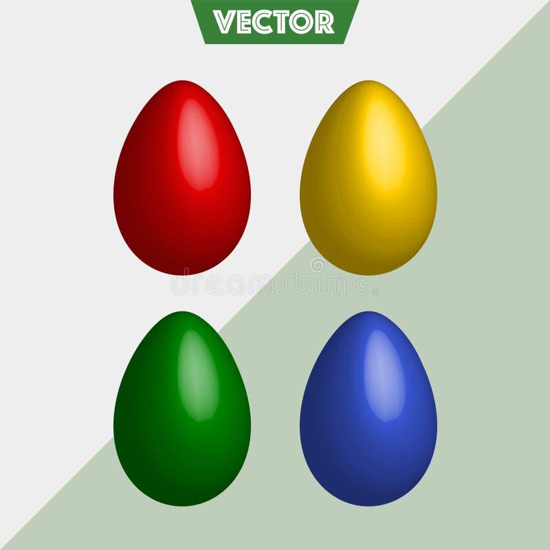 Huevos de Pascua simples del vector colorido 3D imagenes de archivo