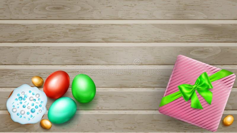 Huevos de Pascua, torta y caja de regalo coloreados en tablones de madera libre illustration