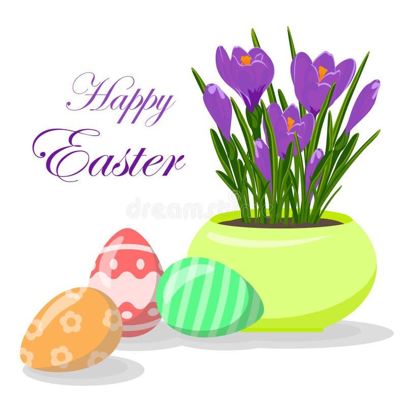 Huevos de Pascua y azafranes violetas en maceta amarilla Groving encima de las flores del azafrán imagen de archivo libre de regalías