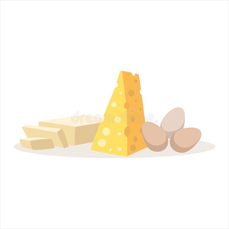 Huevos del queso e ingredientes de la hornada de la mantequilla ilustración del vector