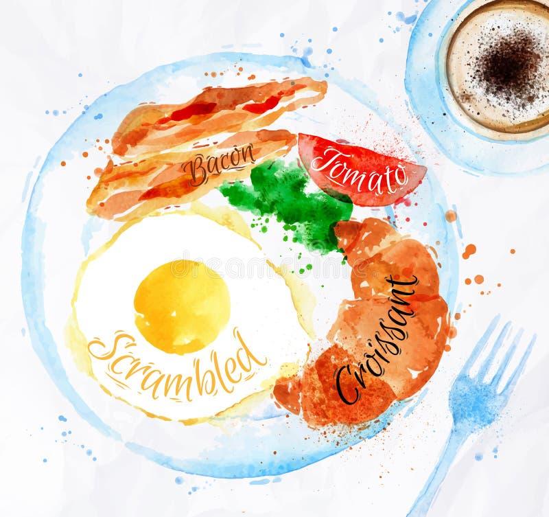 Huevos del tocino de las acuarelas del desayuno stock de ilustración