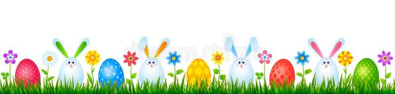 Huevos divertidos de los conejitos de pascua en hierba verde con las flores Concepto de Pascua y de la primavera Ilustración del  fotos de archivo libres de regalías