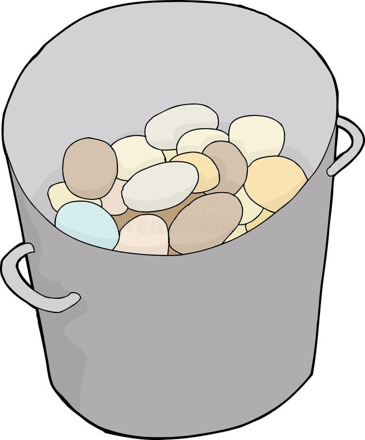 Huevos en cubo ilustración del vector