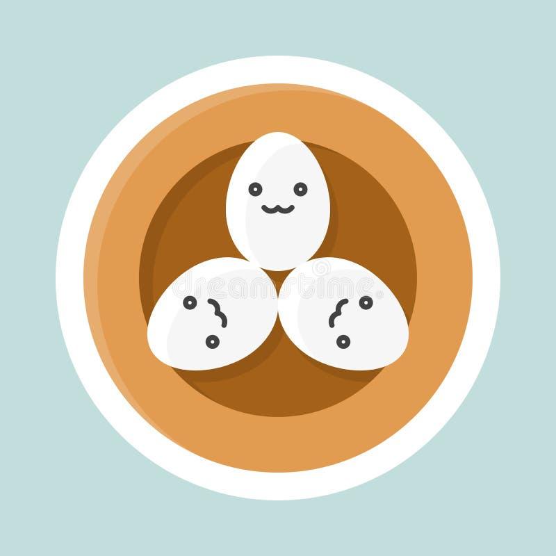 Huevos en icono del vector de la jerarquía del pájaro, etiqueta engomada plana de Pascua y de la primavera ilustración del vector