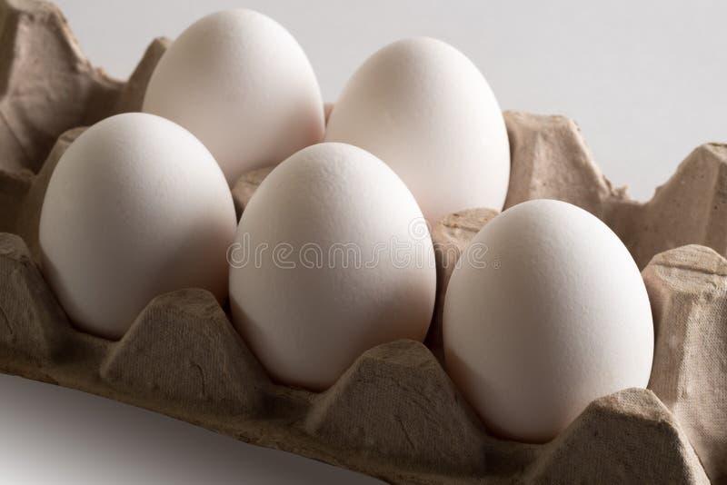 Huevos en una bandeja fotos de archivo