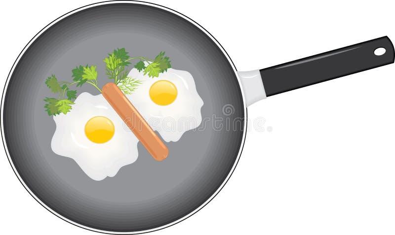Huevos fritos stock de ilustración