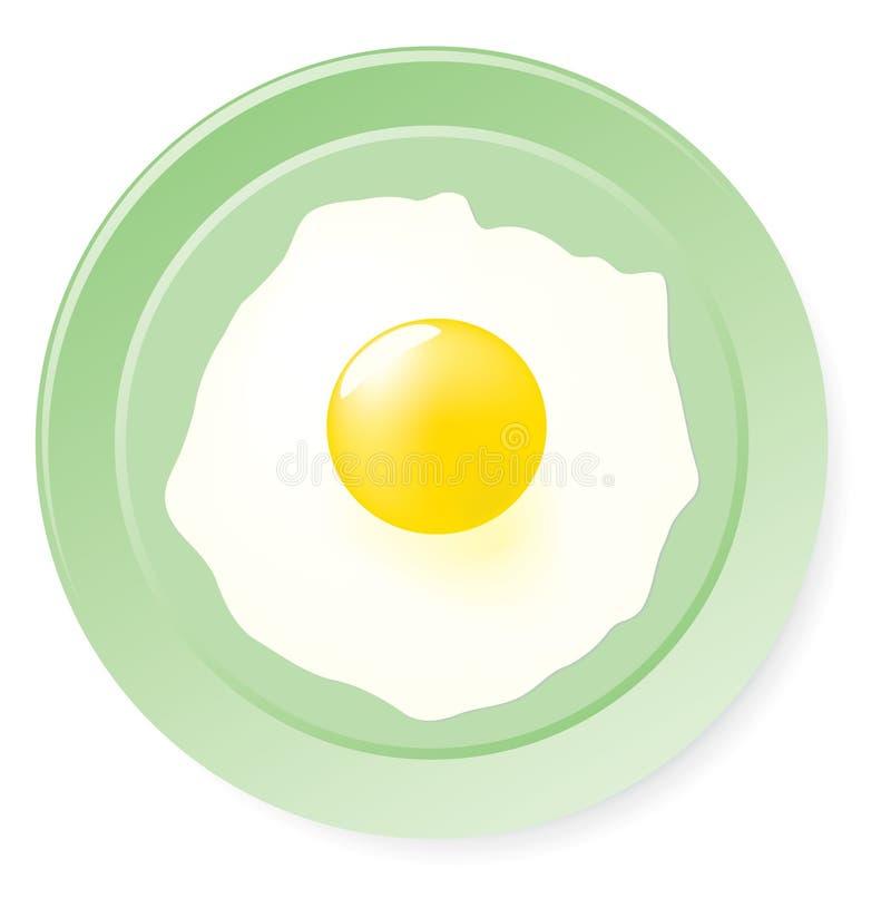 Huevos fritos en la placa verde. libre illustration
