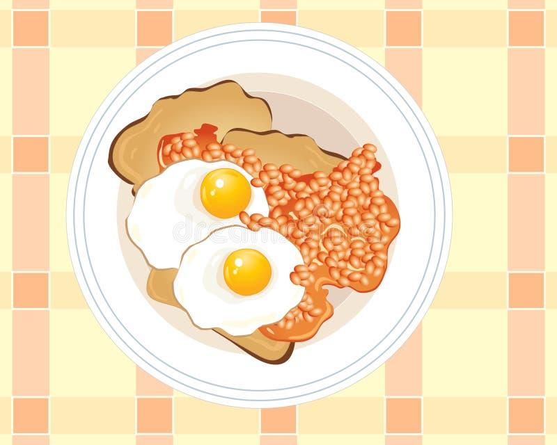 Huevos fritos en tostada libre illustration