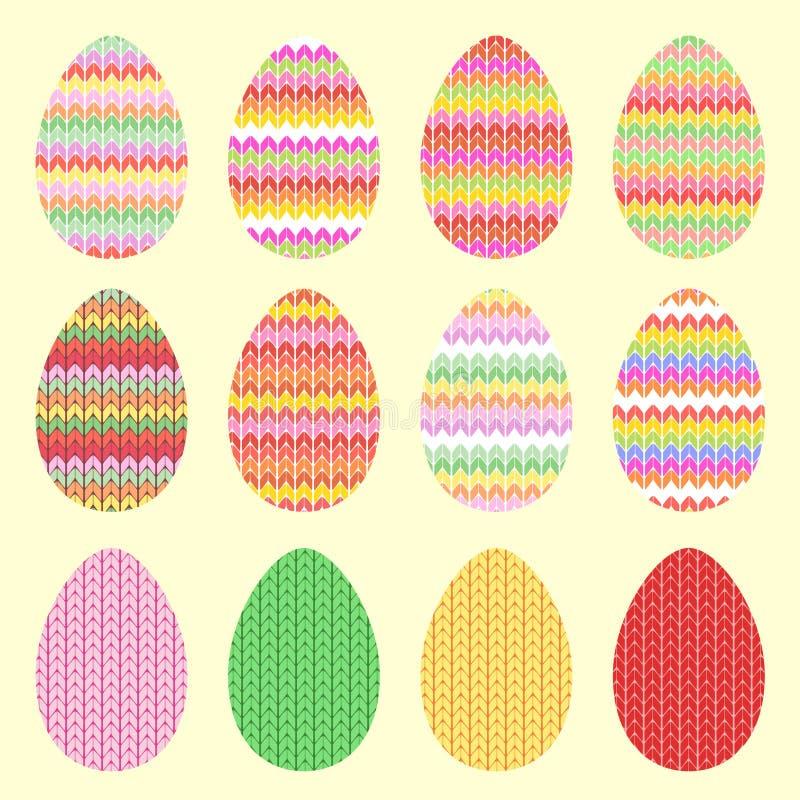 Huevos hechos punto para Pascua stock de ilustración
