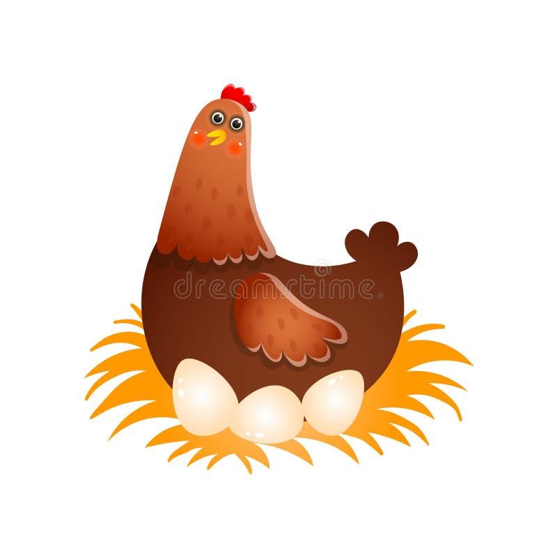 Huevos para incubar de la gallina en jerarquía sobre el fondo blanco libre illustration
