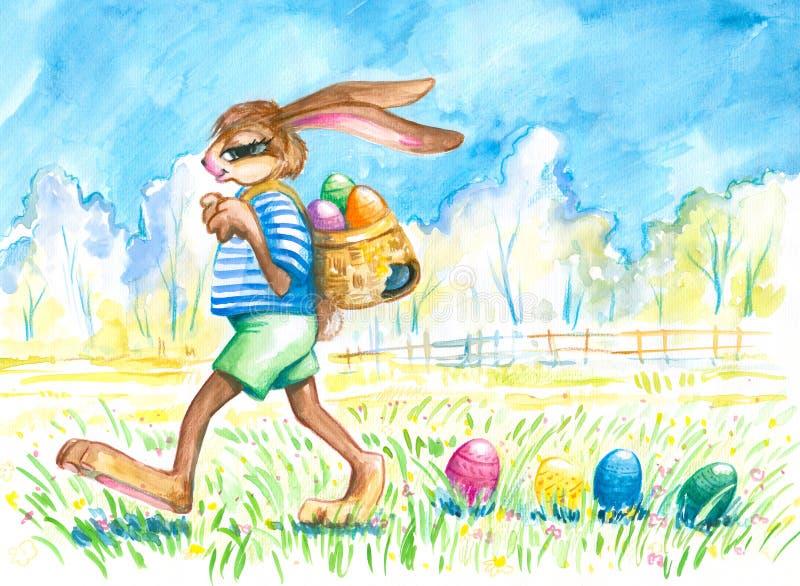 Huevos perdidosos del conejito de pascua. ilustración del vector