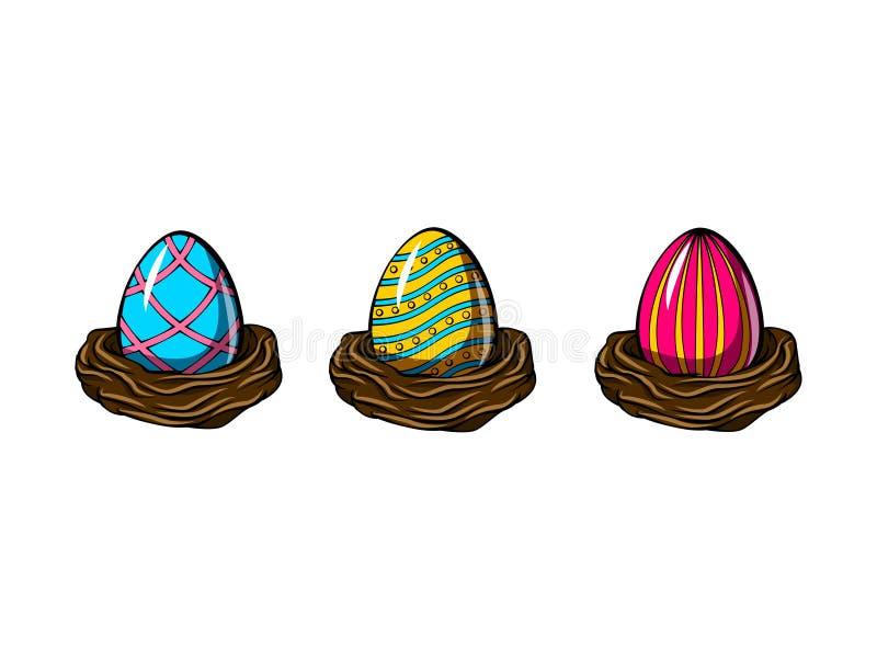 Huevos pintados en sistema de la jerarquía Huevos de Pascua Diseño de tarjeta de Gretting Ilustración del vector stock de ilustración