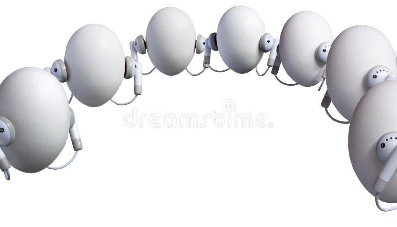Huevos que escuchan foto de archivo