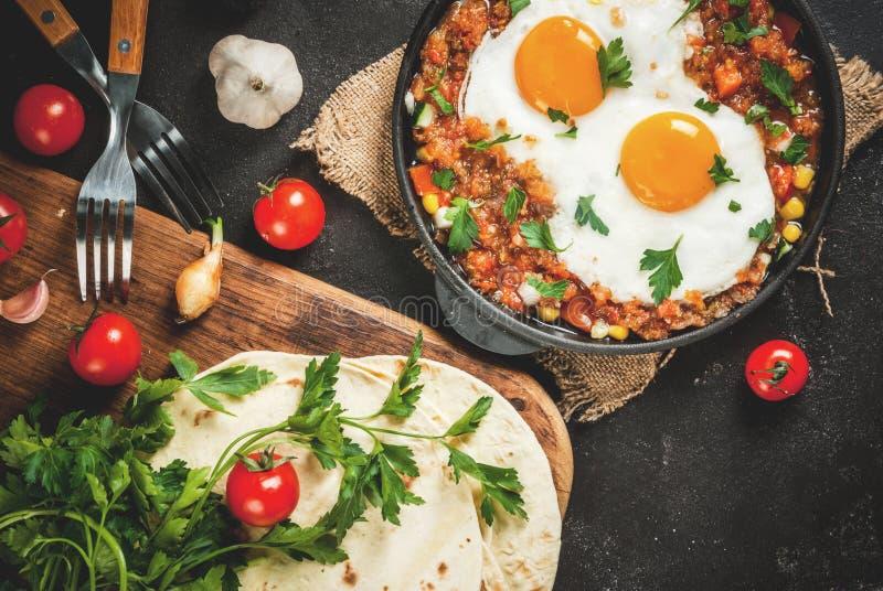Huevos rancheros,墨西哥食物 库存照片