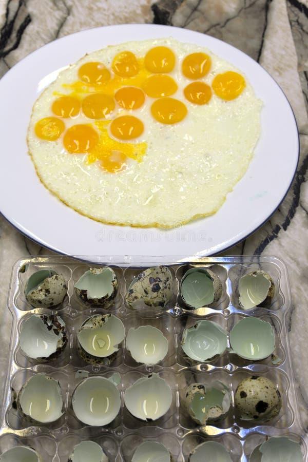 Huevos revueltos con el jamón y las verduras fotografía de archivo libre de regalías